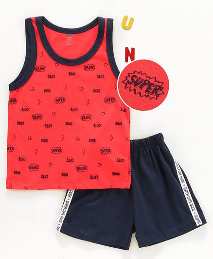 Simply Sleeveless Tee & Shorts Text Print - Red Black