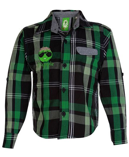 Papple Full Sleeves Check Shirt Embroidery - Green Black