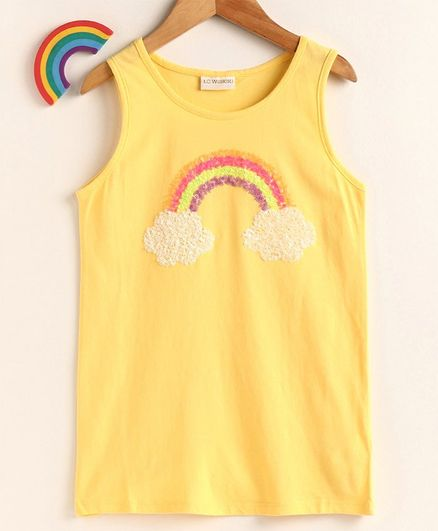 LC Waikiki Rainbow Sequin Embellished Sleeveless Top - Yellow