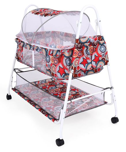 Baby Cradle Cum Bassinet with Mosquito - Multicolor