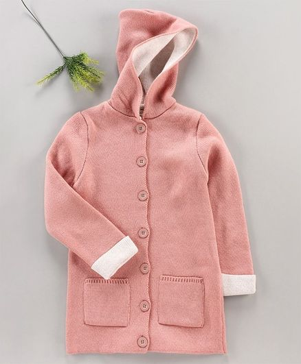 LC Waikiki Full Sleeves Hooded Sweater - Dusty Pink