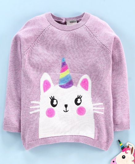 LC Waikiki Full Sleeves Cat Design Sweater - Lilac