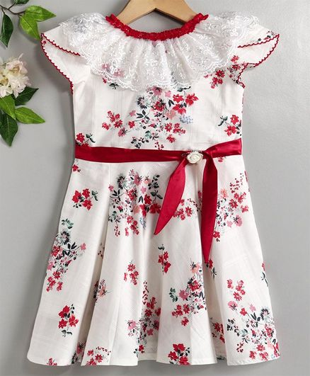 Enfance Core Floral Printed Flared Half Sleeves Casual Frock - Red, 20 (2 to 3 Year)