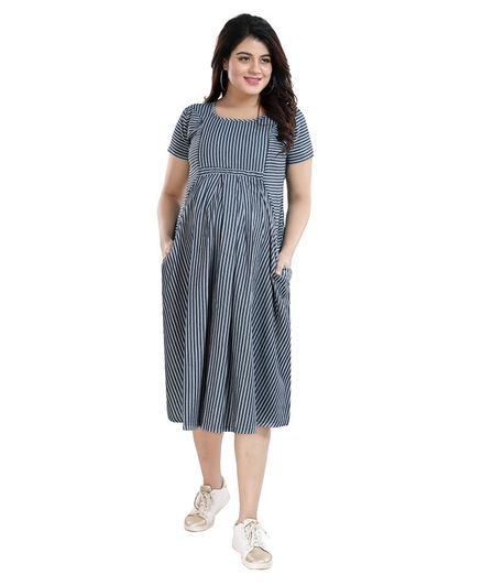 Mamma's Maternity Half Sleeves Striped Denim Dress - Light Blue