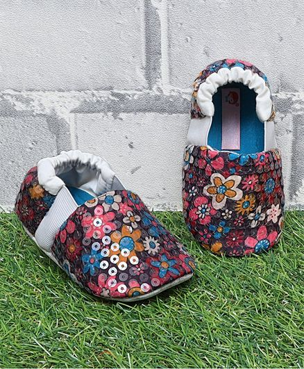 D'chica Sequin Detailed Floral Print Booties - Multi Colour