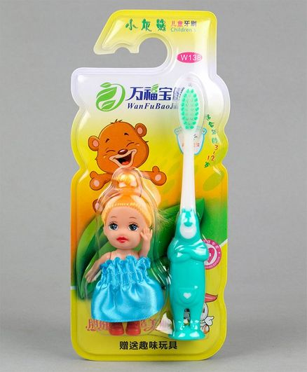 Baby Toothbrush with Doll - Blue Green