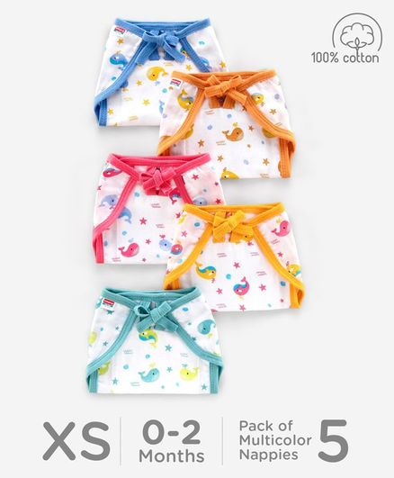 Babyhug U Shape Reusable Printed Muslin Cotton Nappy Extra Small Pack of 5 - Multicolor