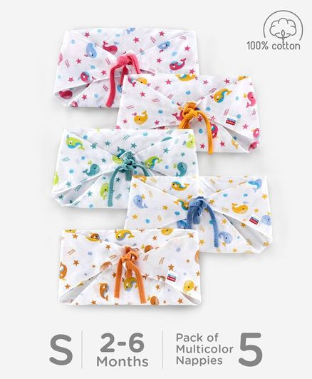 Babyhug Muslin Cotton Reusable Triangle Printed Cloth Nappies Small Set of 5 - Multicolor