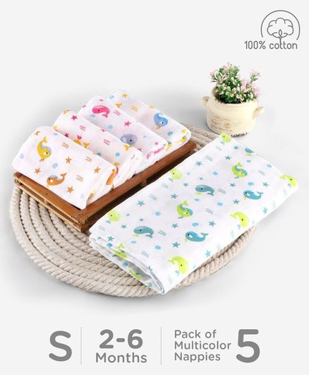 Babyhug Reusable Square Printed Muslin Cotton Nappy Set Small Pack of 5 - Multicolor