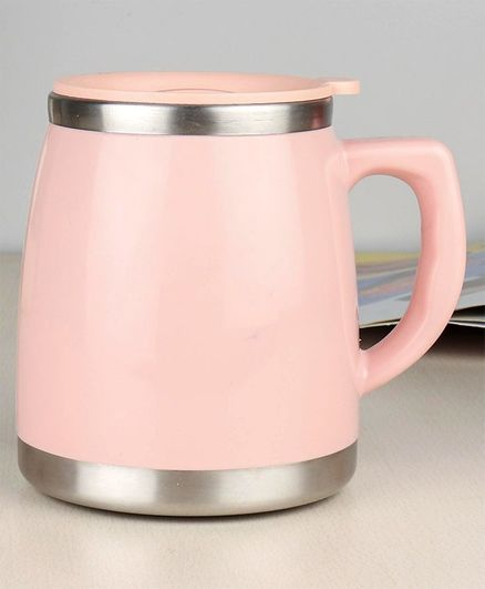 Multipurpose Double Wall Insulated Mug with Lid Pink- 500 ml