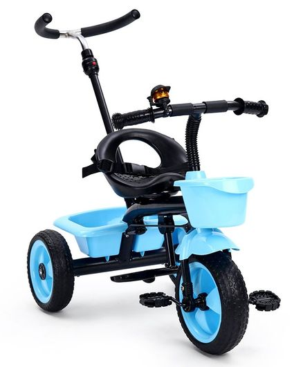 Tricycle with Storage Basket and Parent Push Handle - Blue
