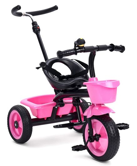 Tricycle with Storage Basket and Parent Push Handle - Pink