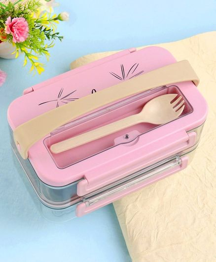 Stainless Steel Lunch Box with Fork - Pink