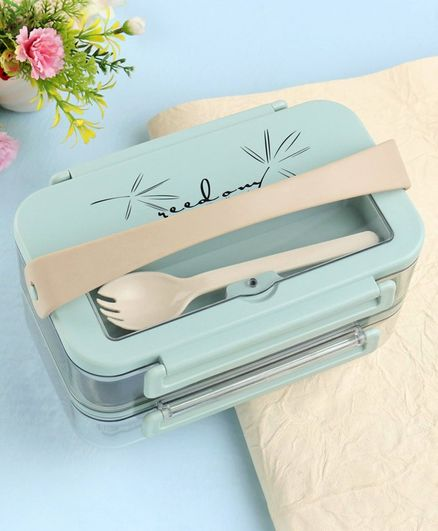 Stainless Steel Lunch Box with Fork - Green