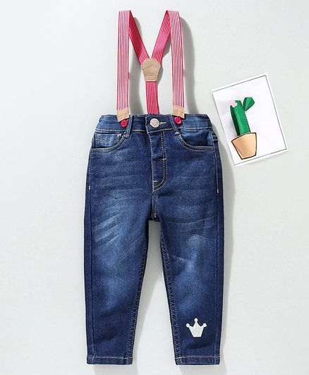 Babyhug Full Length Jeans with Suspenders - Blue