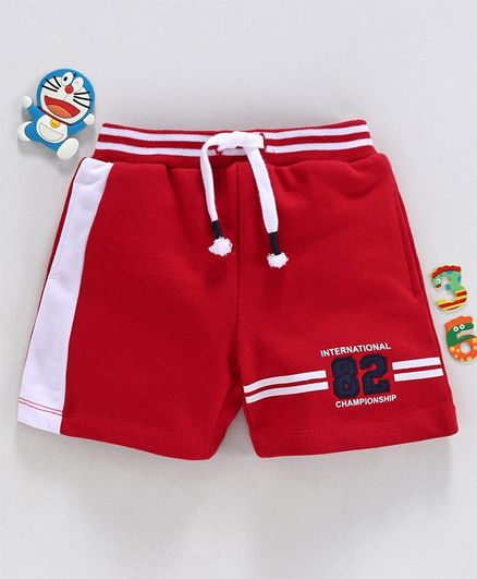 Babyhug Elasticated Waist Shorts 82 Patch - Red