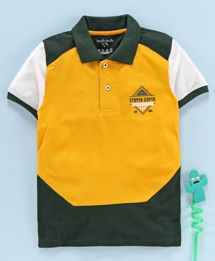 Stupid Cupid Color Block Half Sleeves Polo Tee - Yellow