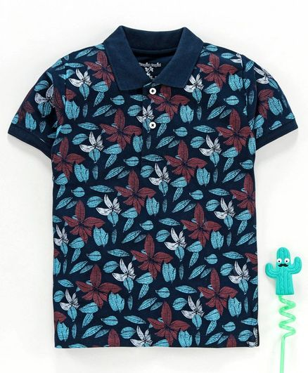 Stupid Cupid Leaves Print Half Sleeves Polo Tee - Navy