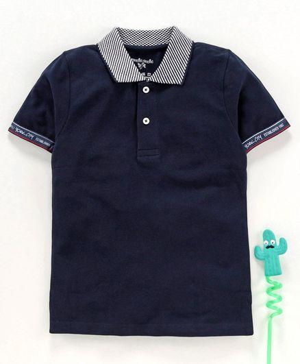 Stupid Cupid Solid & Tape Detailed Half Sleeves Polo Tee - Navy