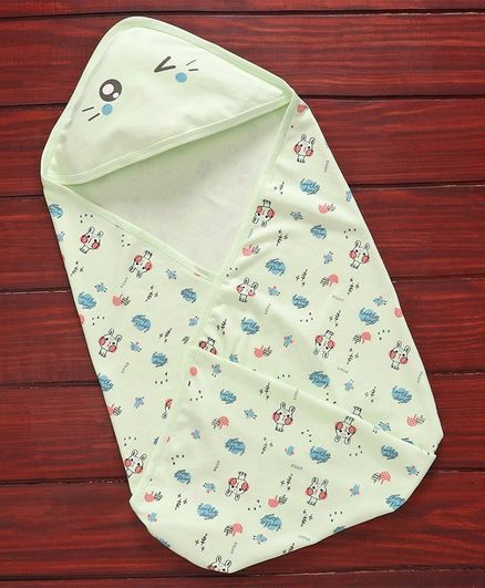 Simply Hooded Bath Towel Bird Print - Green