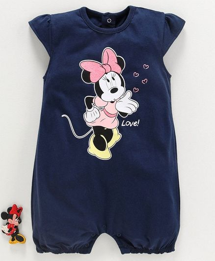 Fox Baby Cap Sleeves Romper Minnie Mouse Print - Navy Blue
