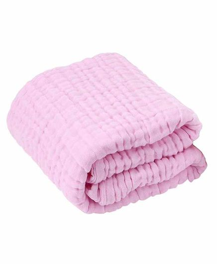 Moms Home Super Soft Absorbent Muslin 6 Layer Towel - Pink