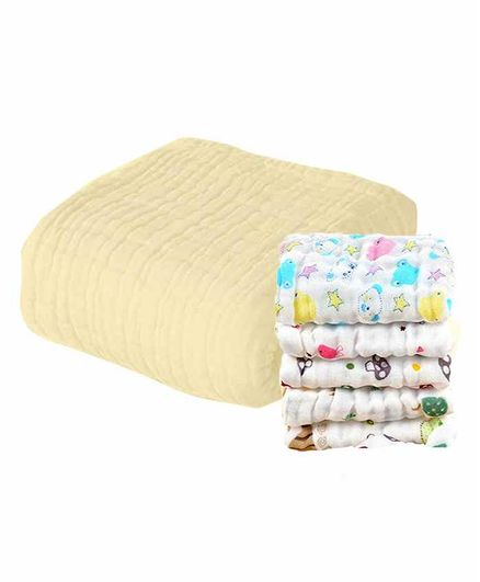 Mom's Home Muslin Towel & Wash Cloths Set Pack of 6 - Yellow