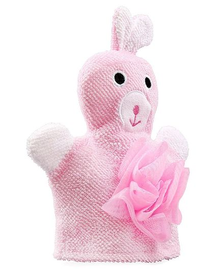 Babyhug Bunny Bath Glove With Attached Loofah - Light Pink