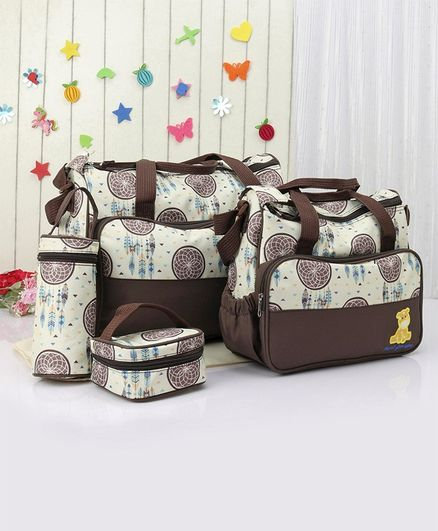 Diaper Bag with Lunch Box and Bottle Holder - Brown