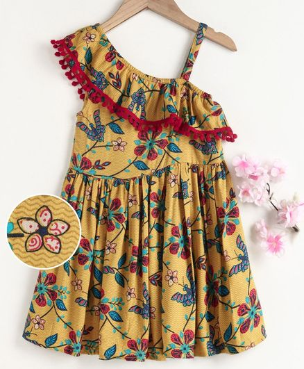 M'andy Sleeveless Flower Print Pom Pom Lace Dress - Yellow