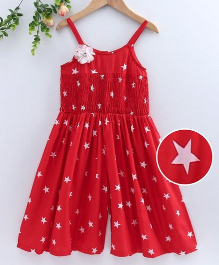 M'andy Star Print Sleeveless Jumpsuit - Red