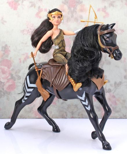 DC Comics Wonder Woman Action Figure with Horse Black - Height 22 cm