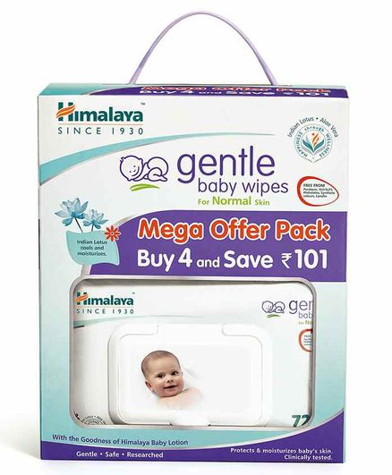 Himalaya Gentle Baby Wipes Pack of 4  - 72 Pieces Each