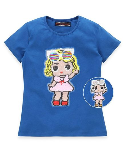 MAGIC TEES Half Sleeves Reversible Sequinned Doll Patch Tee - Blue