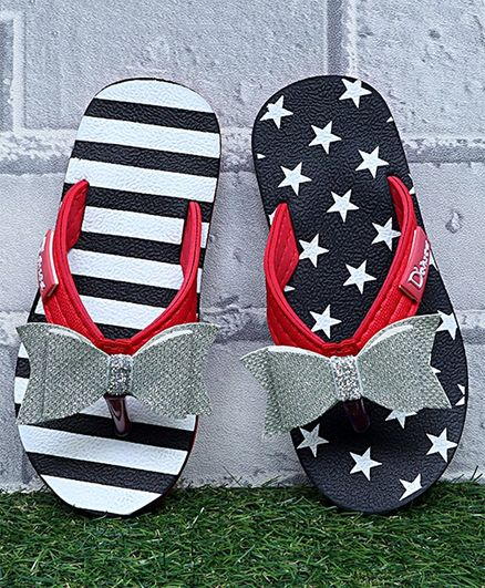 D'chica Striped & Star Printed Mismatch Flip Flops - Black & White