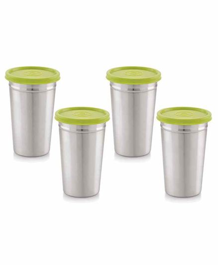 Magnus Stainless Steel Tumbler with Lid Silver Pack of 4 - 350 ml Each