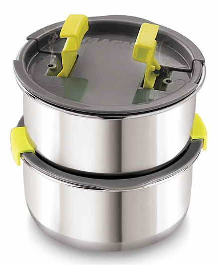 Magnus Stainless Steel Container with Steam Lock Lid Silver Pack of 2 - 600 ml Each