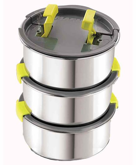 Magnus Stainless Steel Container with Steam Lock Lid Silver Pack of 3 - 600 ml Each