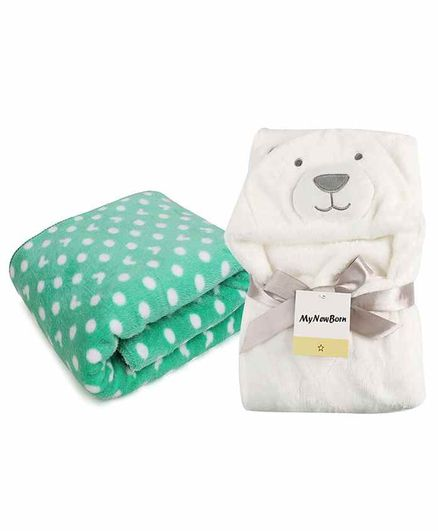My New Born All Season Hooded Baby Wrapper & Blanket Set of 2 - White & Green