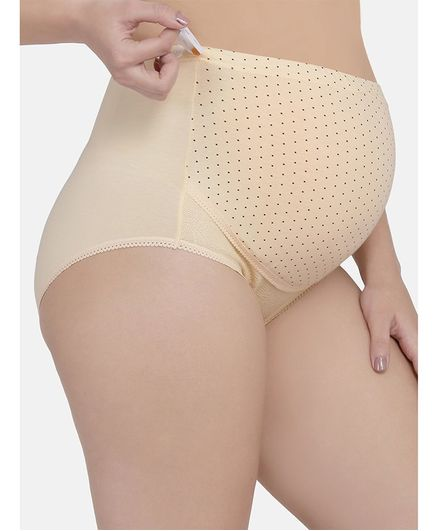 Mamma Presto Polka Dot Print High Rise Adjustable Briefs - Beige