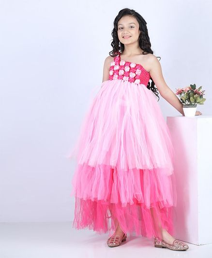 Pink Chick Sleeveless Flower Decor Gown - Pink