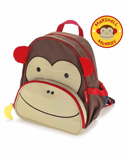 Skip Hop Monkey Design Backpack Blue Brown - 12 Inches