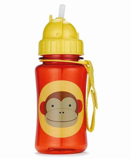 Skip Hop Water Bottle With Pop Up Straw Orange & Yellow - 355 ml