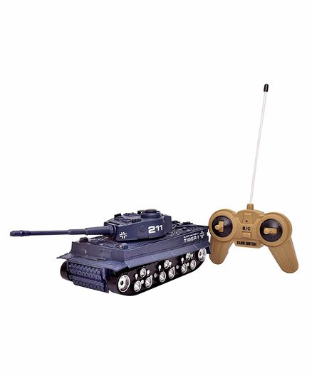 Toyshine 4 Channel Remote Control Tank with Flashing Lights - (Color May Vary)