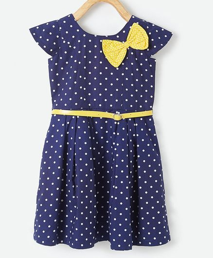 Powderfly Cap Sleeves Polka Dot Print Dress With Belt - Blue