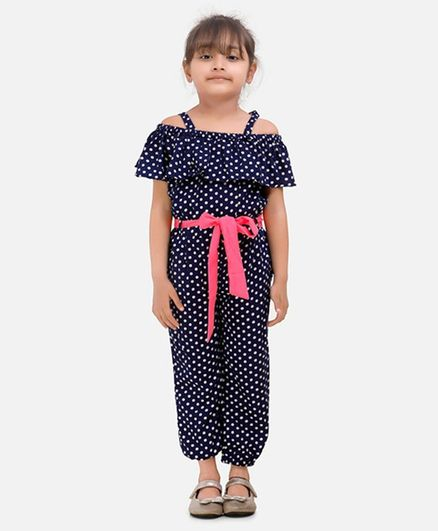 Lilpicks Couture Polka Dot Print Half Sleeves Jumpsuit - Blue