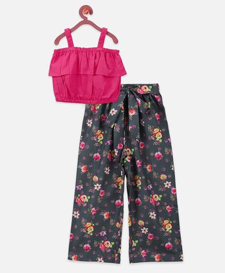 Lilpicks Couture Sleeveless Top & Floral Print Culottes Set - Pink & Grey