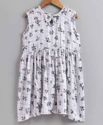 Little LABS Bow With Black Flower Print Sleeveless Dress - White
