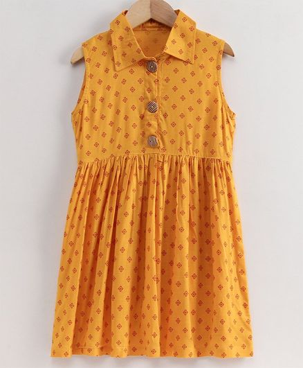 Little LABS Block Print Sleeveless Front Open Frock - Yellow