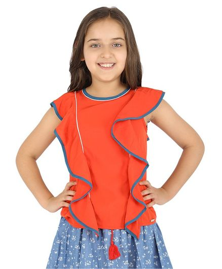 One Friday Short Sleeves Frill Top - Orange